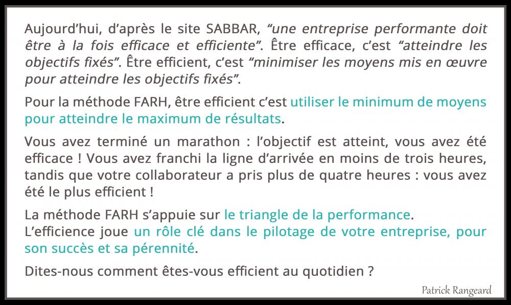 Efficacité et efficience, c'est quoi pour la Méthode FARH ?