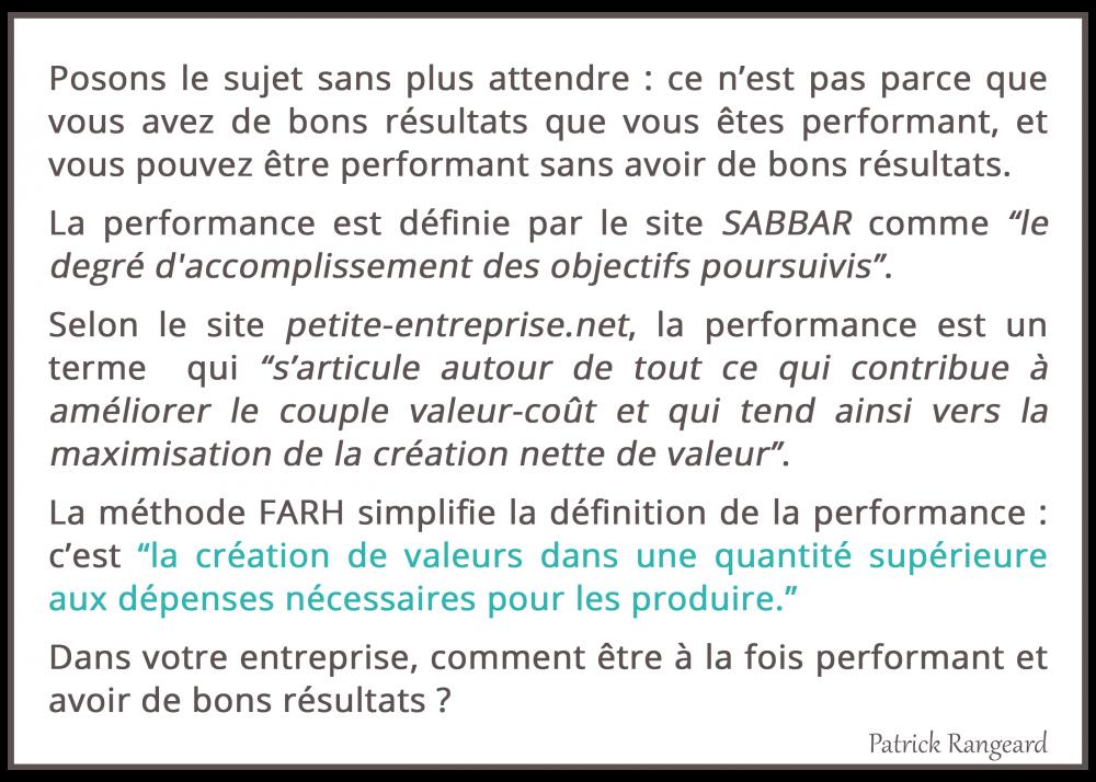 La définition de la performance selon la Méthode FARH